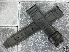 New IWC 21mm Black Crocodile Grain LEATHER STRAP Watch Band Top Gun PILOT #AA
