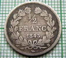 FRANCE Louis Philippe 1845 B 1/2 FRANC, ROUEN MINT, SILVER