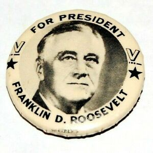 """1944 V VICTORY FDR Franklin D. Roosevelt 1.25"""" campaign pin pinback button WW II"""