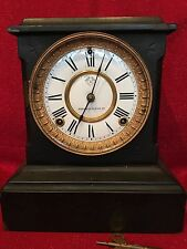 ANSONIA Clock Co. Cast Iron Mantle Statue Clock Fancy  1880's Good Running Order