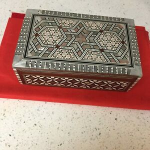 Egyptian Handmade  Jewelry Box Inlaid Mother of Pearl RED VELVET INTERIOR