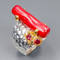 Coral Ring Silver 925 Sterling Fine Art Jewelry Design Size 9 /R145938