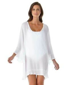 Anne Cole White Live In Color Ruffle Cover-Up Tunic size Medium nwt