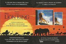 X1665 The Lion King - Colonna Sonora Disney - Pubblicità del 1994 - Vintage ad