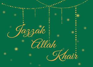 Jazzak Allah Khair Greeting Card Green