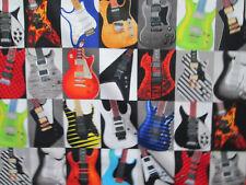 MOD GUITARS ROCK & ROLL COLORFUL COTTON FABRIC FQ