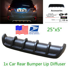 "New 25""x5"" Euro Matte Black Car Rear Shark Fin Curved Bumper Lip Diffuser 6 Fin"
