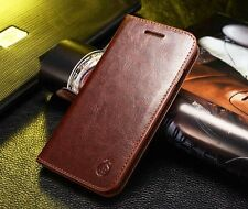 Genuine Real Leather Wallet Card Holder Flip Case Cover for Samsung Note2 3 4 5