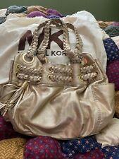 Michael Kors Gold Metallic Leather Hobo Medium/Large Satchel Bag Tassels