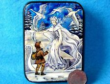 Russian SMALL HAND PAINTED LACQUER SHELL Box A. Rackham SNOW QUEEN illustration