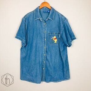 Winnie The Pooh Denim Shirt Large Button Up Embroidered Pocket Short Sleeves