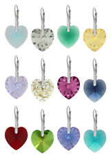 Silver Earrings made with 6228 Heart 14mm Swarovski® Crystals * More Colors