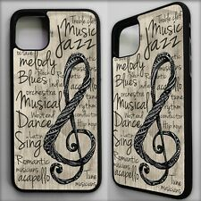 Music note treble clef musical quote phrase pattern case cover for iphone 11
