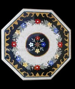24 Inches Marble Patio Coffee Table Multi Stone Center Table Top Marquetry Art