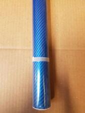 Nuevo 5D De Fibra De Carbono Vinilo Wrap Pegatina de Coche 1500mm X 300mm Azul vendedor del Reino Unido