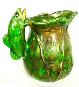 """WELLER MARKED COPPERTONE 7 5/8"""" FISH HANDLED PITCHER Mrked 29 T,   c1920'S"""