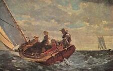 """BREEZING UP"" Winslow Homer Painting National Gallery of Art ca 1950s Postcard"