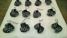 12 HANDMADE CHRISTMAS ORNAMENTS MADE WITH BLING BLACK