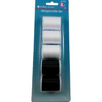 5 Bobines de Fil à Coudre 60 Mètres Polyester Couture Mercerie Noir & Blanc