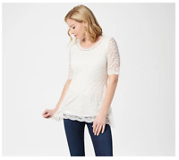 Isaac Mizrahi Live! Elbow-Sleeve Stretch Lace Peplum Knit Top Pearl X-Small