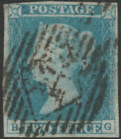 1841 SG13 2d PALE BLUE PLATE 3 GOOD USED 4 MARGINS LONDON INLAND CANCEL (BG)