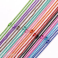 2/5/20 Strands Mixed 2mm Ball Metal Bead Fastener Chains Necklace Findings 27""