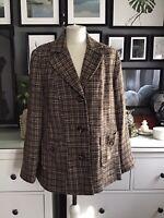 tweed jacket 20 wool mix brown blazer cream wadrobe