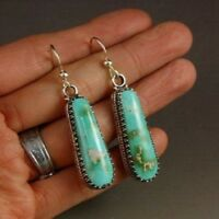 Boho Tibetan Women Silver Turquoise Beads Hook Dangle Drop Earrings Boho Jewelry