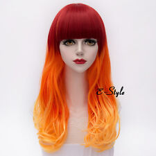 Red Mixed Orange 55CM Long Curly Hair Lolita Women Girls Anime Cosplay Party Wig