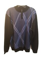 Red Rhino Men's Blue/Black Check Quarter Zip Sweater Sz L