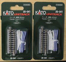 "LOT of 2 - N Scale KATO UNITRACK 20-041 FEEDER TRACK 62mm, 2 - 7/16"""