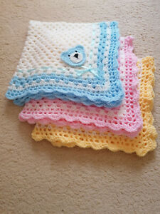 Hand Crocheted Baby Blankets + Free Scratch Mitts