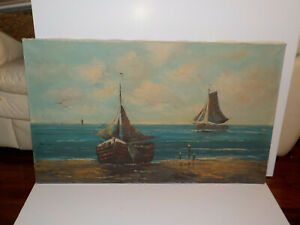 """LARGE Nautical painting on Canvas artist Hermeler 39 1/2"""" x 23 1/2 Boats Sea"""