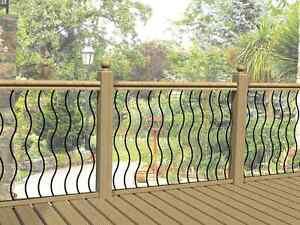 1 x Wave Black Metal Decking Panels Aluminium Deck Spindles Balusters