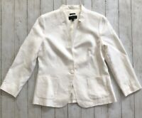 TALBOTS Women's Sz 10 ABERDEEN NOTCHED COLLAR Off White LINEN BLAZER Jacket
