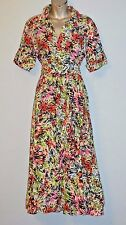 VTG  M FAUX WRAP LINEN MIDI DRESS SHORT SLEEVE PRINT CALF