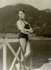 "1920s Swimmer Posses On Dock, Vintage Old Photo 4"" x 6"" Reprint"