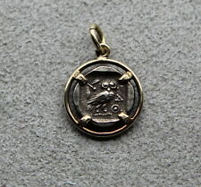 14 Kt. Gold Bezel with Greek Silver Owl Coin, 2.5 grams-Gorgeous!
