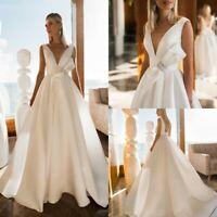 Beach Sleeveless Wedding Dresses Bridal Gowns V Neck Plus Size 4 6 8 10 12 14 16