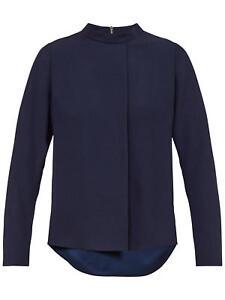 Ted Baker Glitaa Front Drape Long Sleeve Top, Dark Blue - Size 1/ UK8 .BNWT
