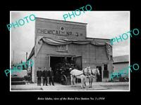 OLD LARGE HISTORIC PHOTO OF BOISE IDAHO, THE No 3 FIRE DEPARTMENT STATION c1910