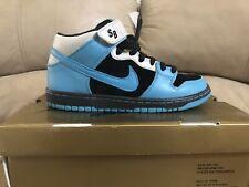 Nike Dunk Mid PRO SB RARE Black Aqua Fuel Blue Cool Gray US Sz 8 314383-041 LE