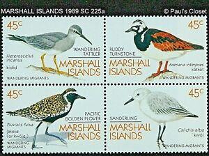 MARSHALL ILS 1989 SC 225a 45¢ MIGRANT BIRDS BLOCK MINT NEVER HINGED OG VF