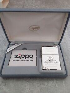 """Zippo Lighter Silver Plate """"Zippo Car"""" Coffret Très Rare Briquet de collection"""