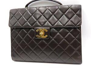 Auth CHANEL CC Matelasse Lambskin Business Bag Brief Case Black Gold A02794 6505