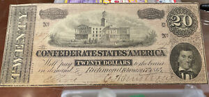 1864 $20 Twenty Dollar Confederate Currency  Paper Money Note