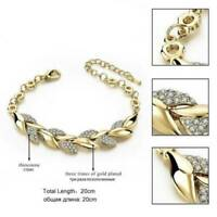 Women 18K Gold Crystal Rhinestone Bangle Bracelet Wedding Bridal Jewelry