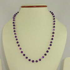 NECKLACE NATURAL PURPLE AMETHYST GEMSTONE BEADED 925 SOLID STERLING  SILVER 19 G