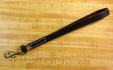 "USA Handmade 12"" Leather Dog Traffic Lead, Brass Swivel snap, Hand Sewn BROWN 2"