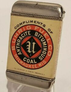1900 WHITEHEAD HOAG Celluloid MATCH SAFE Anthracite Bituminous Coal FUEL Sign Ad